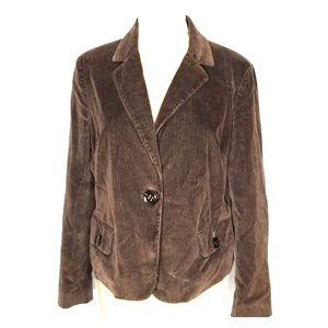 TALBOTS BROWN CORDUROY 14 jacket/blazer long sleev